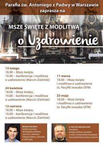 Msza Święta z modlitwą o uzdrowienie @ ul. Senatorska 31, Warszawa